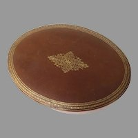 Vintage B. Altman New York Leather Tooled Oval Box Made in Italy