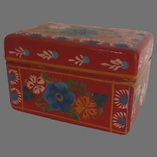 Small Vintage Enamel Painted Box Hand Made Mexico