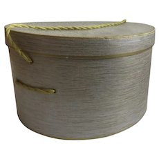Round Cardboard Hat Box Blue Grey Gold with Weaved String Handle