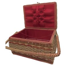 Vintage Wicker Sewing Basket Tray & Red Satin Lining  West Germany