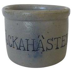 Vintage Stoneware Miniature Tiny Pot With the Word Backahansten Crock Salt Glaze Dollhouse