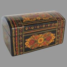 Vintage  Mexican Folk Art  GUERRERO OLINALA Hand Painted Dome Top Box