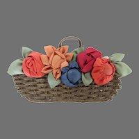Vintage Metallic Thread Basket Silk Flowers Applique