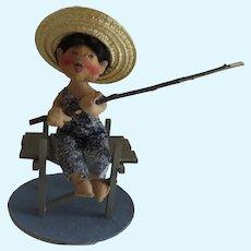 Annalee Doll Boy Fishing on Dock Vintage c 1993