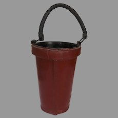 Colonial Wiliamsberg Reproduction Handled Leather Fire Bucket Waste Basket