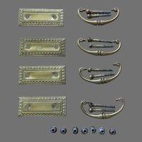 Set of 4 Four Vintage Brass Furniture Hardware Pulls Rectangle Egg and Dart
