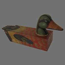 Vintage Mallard Decoy Duck Box Hand Carved Hand Painted From Winterthur Museum