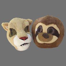 Vintage Dan Dee Dandee Collector's Choice Big Greeter Lion Sloth Plush Furry Head Mask Halloween Costume