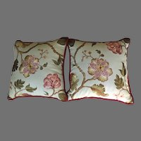 """Beautiful Large 24 1/2"""" Square Linen Embroidered Pillows Down Feather Fill"""