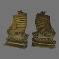 Vintage Solid Brass Folding Bookend Chinese Junk Boat