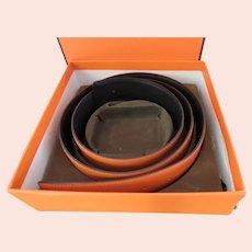 New in Box Hermes Reversible Orange Black Belt Cuir Seul