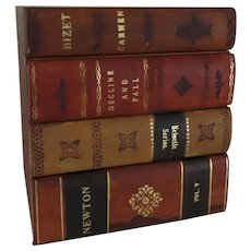 Vintage Horchow Old Leather Books Form Tissue Box Made in Italy