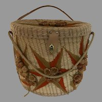 Vintage Panama Straw Purse Carry All Sewing Basket Souvenir