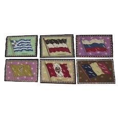 Group of six (6) 1910's Cigar Flannels Felts Flags Vintage
