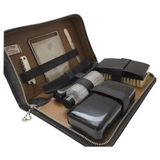 Vintage Men's Travel Grooming Kit Case by Bak-Prop Top Grain Black Leather Cork Screw