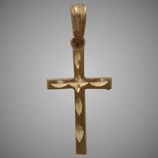 Small Delicate 14K Gold Bright Cut Cross Pendant Charm