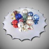 12 X Vintage Glass Christmas Tree Ornaments Sphere Bell Tear Drop Shaped