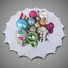 12 X Vintage Glass Christmas Tree Ornaments Sphere Indents Tear Drop Bell Shaped