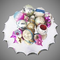 12 X Vintage Glass Christmas Tree Ornaments Sphere Indents Tear Drop Shaped
