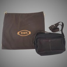 Vintage Un-used J. P. Tods Leather Messenger Briefcase Laptop Luggage Bag Leather Nylon Combination Camera East West Piccola