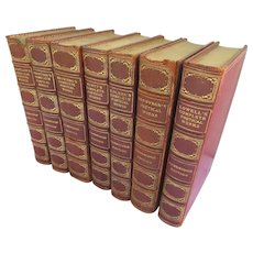 19th Century Cambridge Edition of the Poets 7 Volumes Moroccan Leather