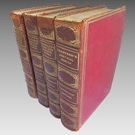 19th Century Cambridge Edition of the Poets 4 Volumes Moroccan Leather