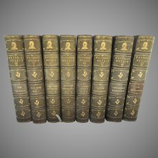 19th Century Waverly Novels Sir Walter Scott Set of Eight Moroccan Leather