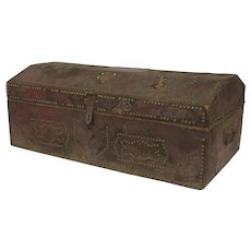 French Red Rust Leather Stunned Chest Trunk