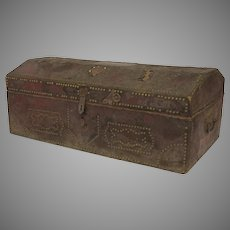 Large French Red Rust Leather Stunned Chest Trunk