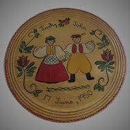 "Mid Century Large Hand Painted Scandinavian Folk Art Wood Tray Charger Plaque 1950 16"" Diameter"