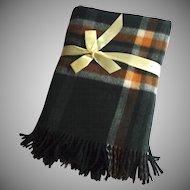 Vintage Jaeger Wool Plaid Blanket Fringe Never Used