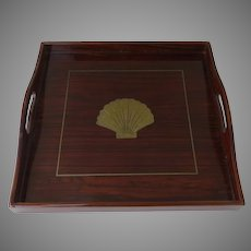 Vintage Laquered Wood Shell Brass Inlaid Square Serving Tray