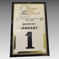 Vintage Metal Vintage Bank Perpetual Advertising Sign Wall Calendar