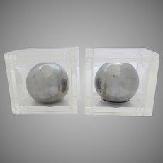 Charles Hollis Jones Ball Bookends Chrome Acrylic