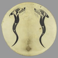 Northwest Coast Ceremonial Drum Shield Rawhide