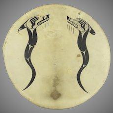 Northwest Coast Ceremonial Drum Shield Rawhide