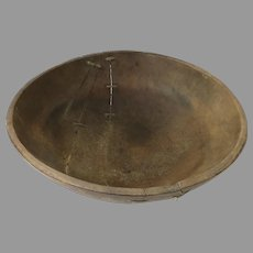 "19th Country Primitive Make Do Repair 20"" Diameter Bowl"