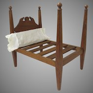 Vintage Hand Made Wooden Four Poster Doll Bed (B.1508)