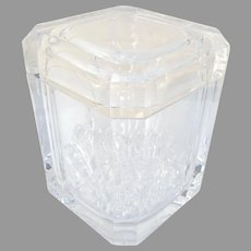 A Vintage Mid Century Multi Faceted Swivel Lidded Acrylic Lucite Ice Bucket