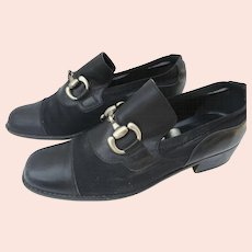 Vintage Coup d'etat Black Silver Horse Bit Cloth and Calf Leather Shoes 80's