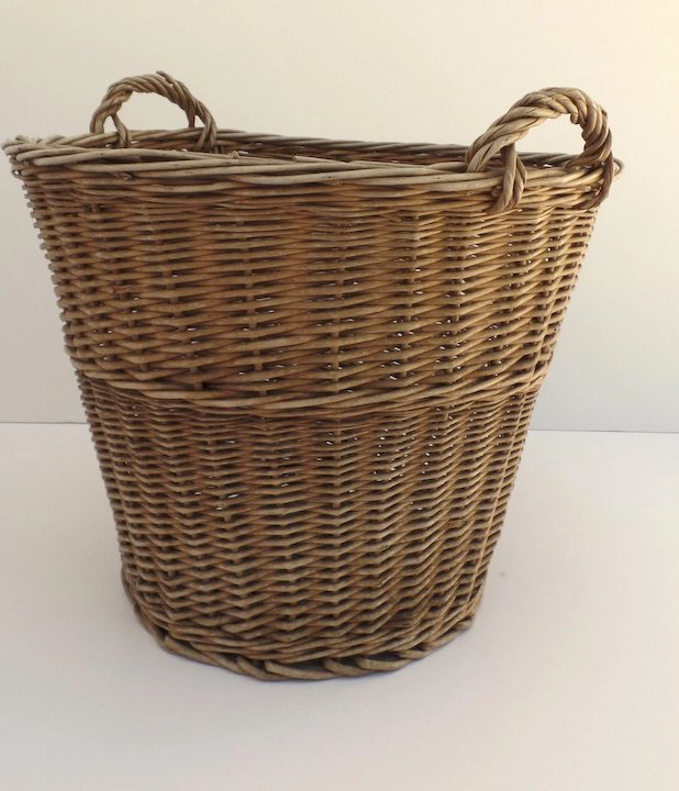 Vintage French Style Wicker Laundry Basket Tall Side Handles