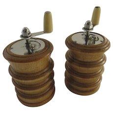 Vintage Wooden Salt & Pepper Shakers 1950s