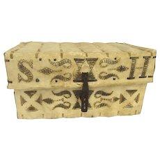 19th Century Spanish Colonial  Peruvian Hide Traveling Trunk Iron Hardware