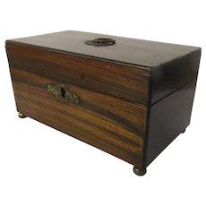 Regency Rosewood Mahogany and Ebony Tea Caddy c 1820 Round Feet