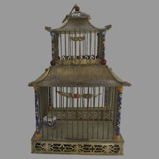 Vintage Chinese Cloisonne Silver Plated Bird Cricket Cage House Phoenix Frog Foo Dog
