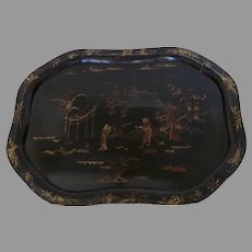 Early 19th Century Large Papier Mache Serving Tray Shaped Edge Chinoiserie Motif