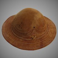 Leather Brimmed Hat Punch Work Braid Mexican