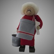 """Vintage Large 11""""  Wooden Ljungstroms of Sweden Handmade Woman Lady, Mrs. Claus, Grandma, Grandmother Figure with Cleaning Bucket"""