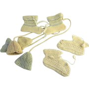 Vintage Group of Handmade Baby Booties Shoes and Crochet Bells