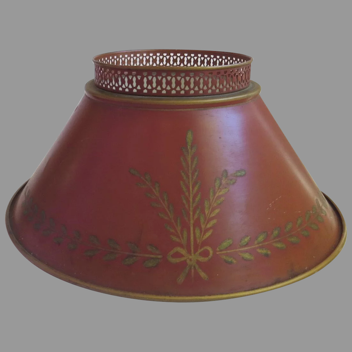 Vintage Tole Red Lamp Shade With Wheat